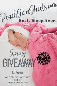 Enjoy Your BEST. SLEEP. EVER. With PeachSkinSheets! They Are Amazing & One Lucky Winner Will Win A Set! Any Size & Any Color (Up To King)