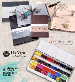 Enter for a chance to win 2 wonderful toned paper sketchbooks from Hahnemühle & a fabulous 18-color Scratchmade Da Vinci Watercolor Palette! !
