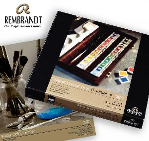 Enter for a chance to win a Rembrandt Professional Watercolor Traditional Wooden Box set and paper!