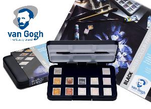 """Enter for a chance to win a Van Gogh 12-Pan """"Metallics and Interference Colours"""" Pocket Box, a Van Gogh Black Watercolor Paper Block (A4: 8.3"""" x 11.7"""" (21cm x 29.7cm)!"""