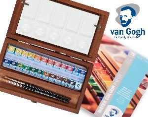 Enter for a chance to win a Van Gogh 24 watercolour pan set in a wooden box, and Watercolour Paper Pad!