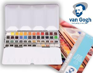 "Enter for a chance to win a Van Gogh Watercolour Metal Case Set with 48 Colours in Half Pans, and a Watercolour Paper Pad (75 Sheets, 300g/140lb.30 x 40cm/11.8"" x 15.7"")!"