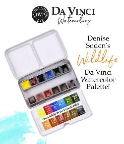 Enter for a chance to win Denise Soden's Wildlife Da Vinci Watercolor Palette with 12 hand-filled watercolor pans in a travel tin!