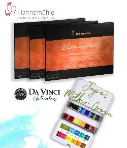 Enter for a chance to win Joyce's Mother Green Da Vinci Watercolors Palette with a set of professional quality watercolor paper from The Collection by Hahnemühle!
