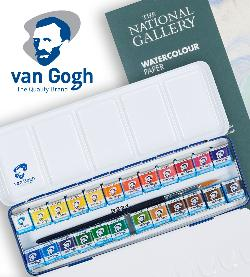 """Enter for a chance to win this 24-half pan Van Gogh watercolour set in a metal tin case (includes a round synthetic hair brush size 3) and watercolour paper block, 12 Sheets, 300g/140lb., size 24 x 32cm / 9.4"""" x 12.6""""!!"""