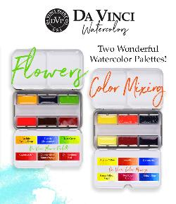 Enter for a chance to win TWO Da Vinci Watercolor hand-filled watercolor sets, each with 6 full pan colors in a travel tin.