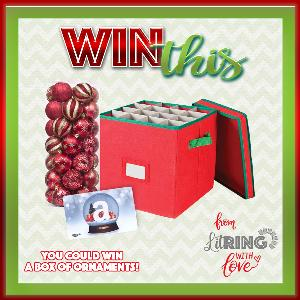 enter for your chance to win a box of Christmas ornaments and a gift card!