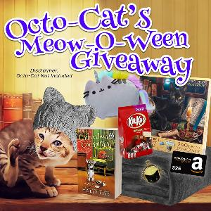 Enter this contest for a chance to win Octo-Cat's October prize pack including a signed paperback, a cat necklace, puzzle, Pusheen plush unicorn, snuggly blanket, cat-eared knit hat, a party-sized bag of Kit-Kats, and a $25 Amazon gift card!!