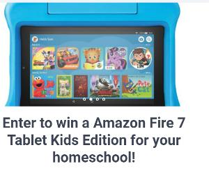 Enter to win a Amazon Fire 7 Tablet Kids Edition for your homeschool!