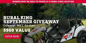 Enter to win a Coleman 96cc Go-Kart from Rural King