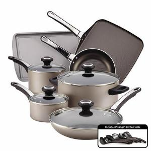 Farberware Nonstick 17-Piece Champagne Cookware Set Giveaway""