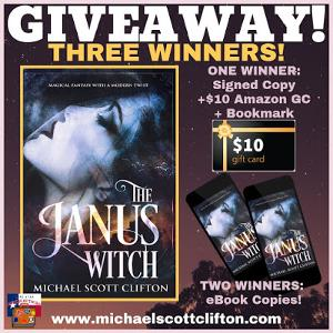 First Prize: Signed Copy of The Janus Witch, $10 Amazon Gift Card, & Bookmark; 2nd & 3rd Prizes - eBook Copies of The Janus Witch
