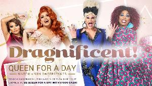 Four drag queens dressed up for the Dragnificent queen for a day sweepstakes posture for the premier of Dragnificent