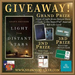 "Grand Prize: Copy of Light from Distant Stars + Look to the Stars 8""x5"" Journal + $25 Barnes & Noble Gift Card; 2nd Prize: Book + Personal Library Kit; 3rd Prize: Book + $10 Starbucks Gift Card."