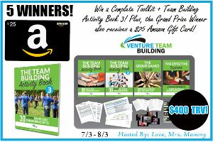 Grand Prize winner will receive a $25 Amazon Gift Card and a $75 Prize Pack from Venture Team Building! 4 Runners-up will win a $75 Prize Pack! A $400 TRV Giveaway!