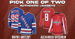 gretzy and ovechkin jerseys, front and back views