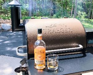 grill with whiskey on counter
