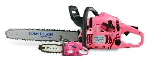 Husqvarna 450 Rancher chainsaw and pink toy chainsaw