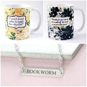 Jane Eyre & Wuthering Heights Quote Mugs & Bookworm Necklace Giveaway