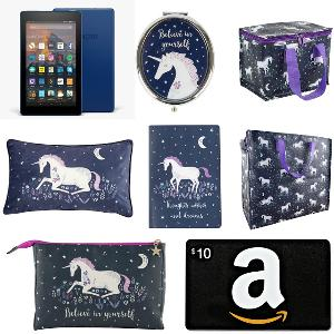 Kindle Fire 7, Amazon Gift Card and Sass & Belle Unicorn Mirror, Lunch Tote, Pillow, Notebook, Large Tote Bag & Wash Bag Giveaway