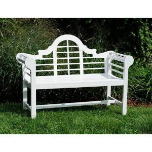 Lacquer Lutyen Outdoor Wooden Bench in White