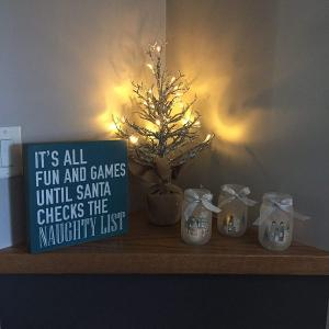 Lit Decorative Tabletop Tree and Frosted Mason Jar