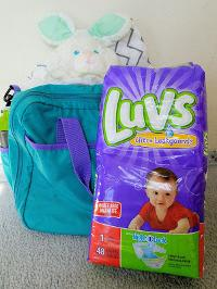 Luvs diapers and a $25.00 Amex gift card.
