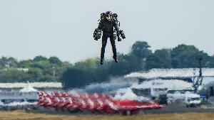 man in a jet suit