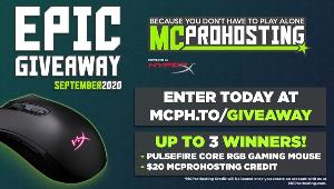 MCProHosting Epic Prize Pack!- 3 winners-(HYPERX PULSEFIRE CORE RGB GAMING MOUSE $20 MCProHosting Server Credit (BONUS) Exclusive Discord Role to flex within our community!