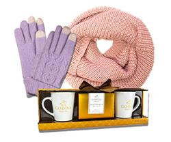 mitts and scarf and tea cups