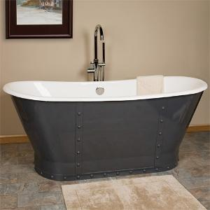 Navy Cast-Iron Soaking Tub from Signature Hardware