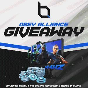 Obey Alliance ZOWIE BenQ 144Hz Gaming Monitors & 10,000 Fortnite V-BUCKS Giveaway