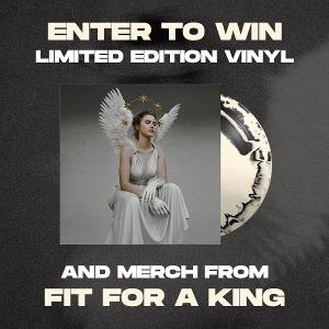 """One (1) 'The Path'  Athena Bone/Black LP variant, A Fit for a King """"Globe"""" sweatshirt, A Fit for a King """"Locked"""" t-shirt, A logo snapback cap & A one-year subscription to Revolver Magazine!"""