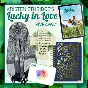 One fortunate reader will receive a Lucky in Love prize pack including an Irish blessing plaque, a pashmina scarf, a prayer journal, and $10 in swag bucks to the Kristen Ethridge swag shop!