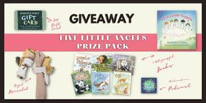 One lucky grand prize winner will receive a Five Little Angels prize pack! & Five winners will each receive a hardcover copy of Five Little Angels and a Hugging Plush Angel Slap Bracelet! Five more winners will each receive a paperback & bracelet!