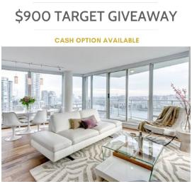 One lucky person is going to WIN a $900 Target Giftcard or they can opt for the full $900 cash!!