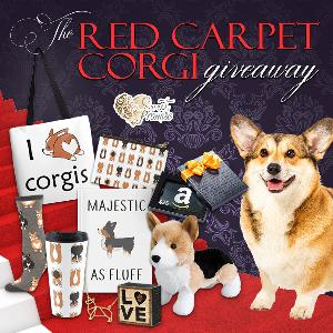 One lucky reader will win a Corgi inspired prize pack that includes a tote bag, journal, travel mug, zipper pouch, socks, necklace, Corgi plushie, and a wooden sign!