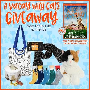 One lucky reader will win a cute kitty plush, a cat-printed scarf, paw-some cat socks, a cat-themed tote, a $5 Amazon gift card, and cat tin filled with delicious Scottish candies... Yum!