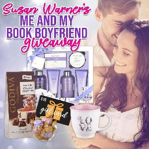 One lucky reader will win a spa kit, a love-themed coffee mug, Godiva chocolates, and a $10 Amazon gift card!