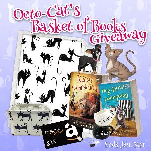 One lucky reader will win cat-themed items including a blanket, a basket, a mug and spoon set, a $25 Amazon gift card, and two paperbacks signed by Octo-Cat, the talking cat from the Pet Whisperer P.I. series by Molly Fitz!