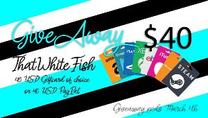 ONE LUCKY WINNER WILL RECEIVE 1x $40 USD Gift Card or $40 USD Paypal