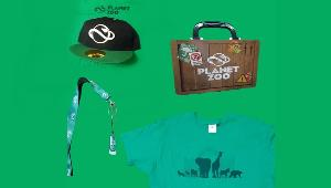 ONE LUCKY WINNER WILL RECEIVE..1x Shirt Large in size, 1x Hat  1x Keychain with USB Storage & 1x Planet Zoo metal container