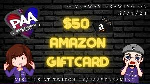 ONE LUCKY WINNER WILL RECEIVE..A $50 Amazon Digital Gift Card
