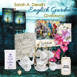 One lucky winner will receive a thrilling prize pack inspired by the book, including an English tea set, gold heart locket, UK homesick candle, decorative orchid, ginger biscuits and tea, a garden-themed adult coloring book, and a floral-themed journal!