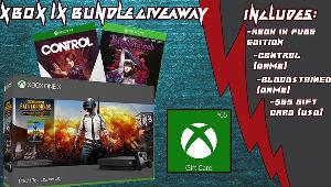 ONE LUCKY WINNER WILL RECEIVE AN XBOX ONE X BUNDLE!-Xbox One X Console  -Bloodstained Digital Game  -Control Digital Game  -$65 Gift Card!!