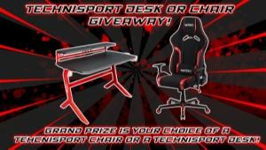 ONE LUCKY WINNER WILL RECEIVE THEIR CHOICE OF EITHER A TECHNI SPORT CHAIR OR A TECHNI SPORT DESK!!