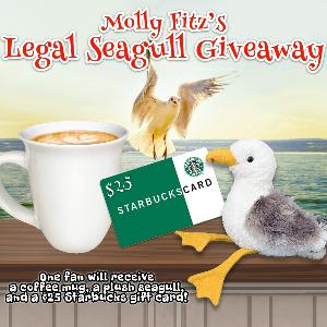 One lucky winner will win a prize pack including a plush seagull, a stoneware mug, and a $25 Starbucks gift card!