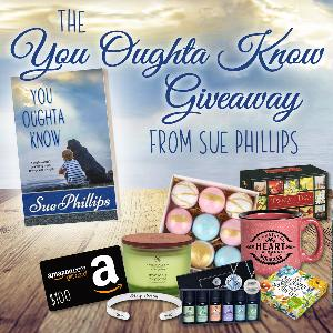 One reader will win a self care package including a mug, essential oils, bath bombs, a bracelet, tea, and an Amazon gift card!