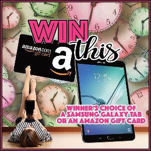 One reader will win their choice of a Samsung Galaxy Tab or an Amazon gift card!
