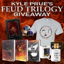 One reader will win three signed books, a mug, a T shirt, buttons, a Kindle Fire, and an $50 Amazon gift card!